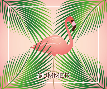 pink tropical flamingo between palm leaves vector illustration EPS10