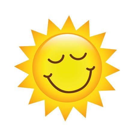cartoon sun with smiley emoticon vector illustration 向量圖像