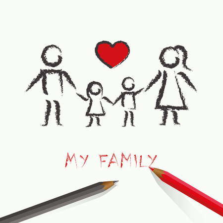 children drawing happy family with red heart vector illustration EPS10