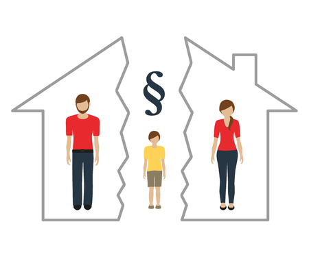 divorce and separation of property family with a child vector illustration EPS10