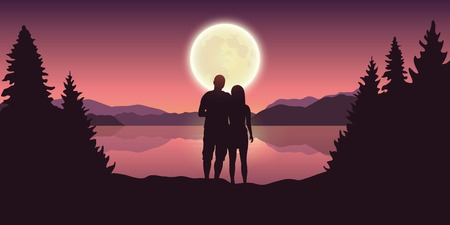 young couple looks to the full moon at beautiful lake vector illustration EPS10