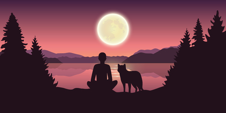 person and dog are looking at the full moon in nature by the lake vector illustration EPS10