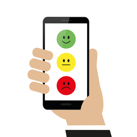 submit rating via the smartphone isolated on white background vector illustration EPS10