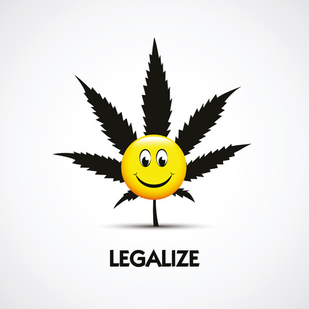 cute funny smiling happy face with marijuana weed leaf and legalize text vector illustration EPS10 Illustration