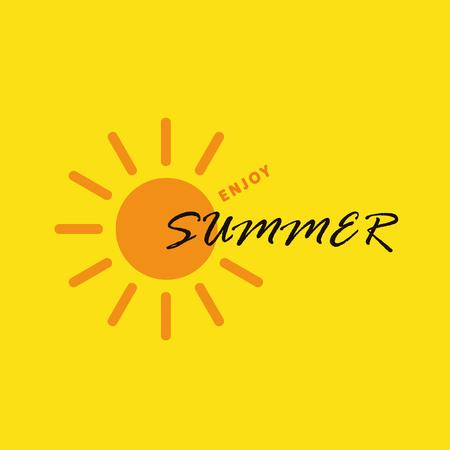 enjoy summer sun on yellow background vector Illustration