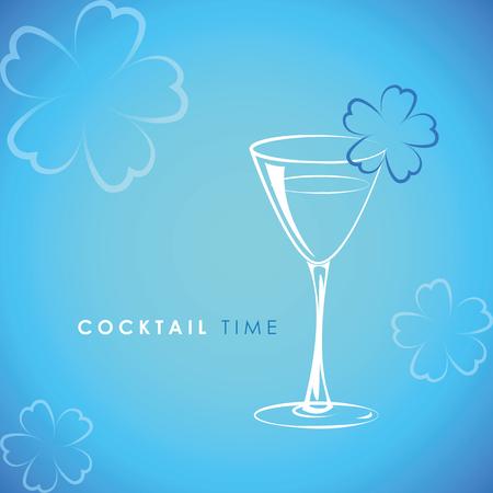 cocktail time glass with flower decoration on blue background vector illustration Ilustração