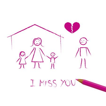 family divorce concept child drawing vector illustration EPS10