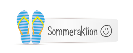 summer action german typography message with blue striped flip flops vector illustration EPS10 Иллюстрация