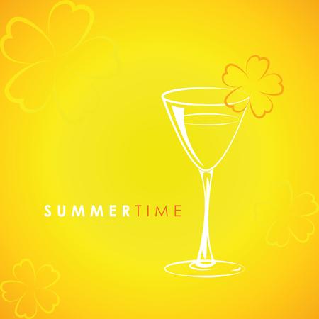 cocktail time glass with flower decoration on yellow background vector illustration EPS10 Ilustração