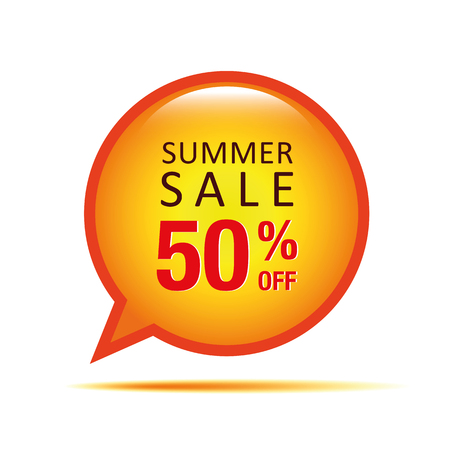 summer sale speach bubble 50 percent off vector illustration