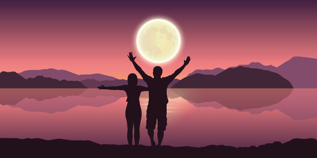 happy couple with arms raised enjoy the full moon and mountain landscape by the lake vector illustration EPS10