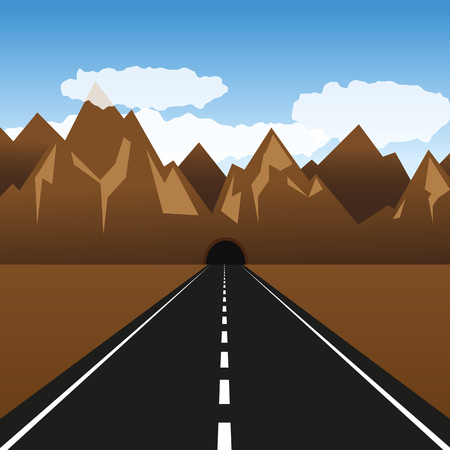 paved road leads through a tunnel in the mountain vector illustration EPS10