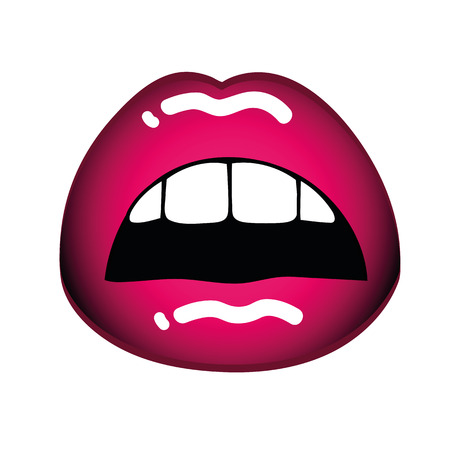 female sexy pink lips open mouth on white background vector illustration