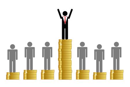 gap between rich and poor finance pictogram with coins vector illustration EPS10 Ilustração