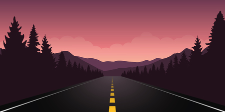 roadtrip adventure staight road and forest landscape vector illustration EPS10
