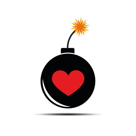 Bomba ardiente con corazón para el amor y la pasión peligrosos ilustración vectorial EPS10 Ilustración de vector
