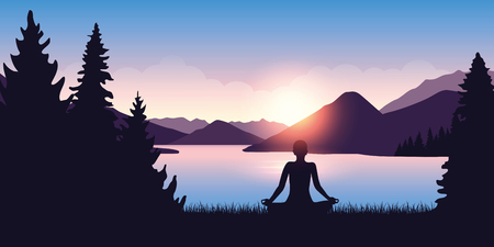 person mediating by the river in the forest at sunrise vector illustration EPS10