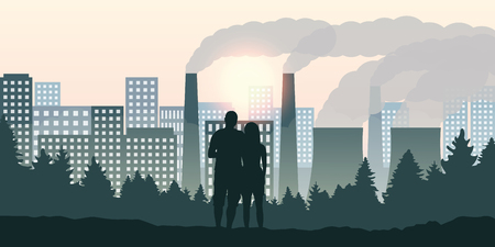 couple looks direction city and pollution by industry vector illustration EPS10
