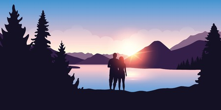 young couple by the river enjoy the forest nature landscape at sunrise vector illustration EPS10