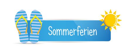 summer holiday german typography message with blue striped flip flops vector illustration EPS10
