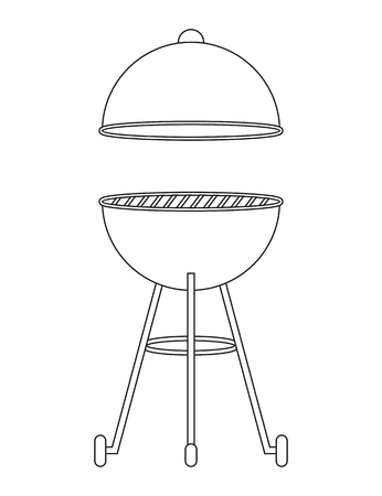 bbq kettle barbecue outline drawing isolated on white background vector illustration EPS10