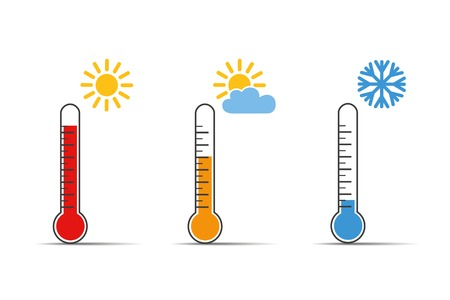 heat thermometer icon symbol hot and cold weather vector illustration EPS10 Illustration