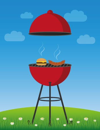 bbq time in summer red kettle barbecue with sausage and burger vector illustration EPS10 Иллюстрация
