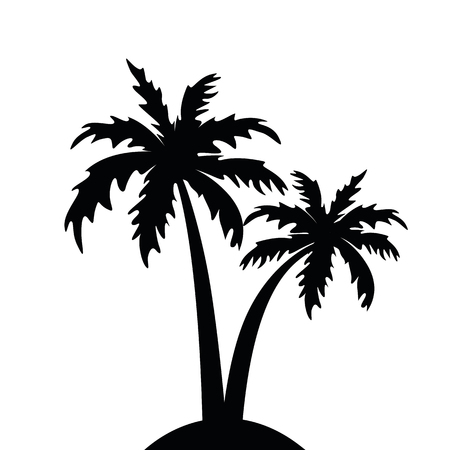 palm tree silhouette isolated on white background vector illustration