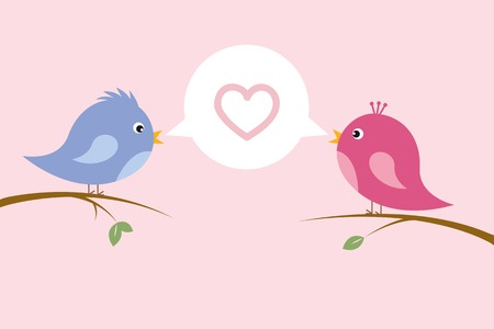 cute singing bird couple in love sit on a branch colorful cartoon vector illustration Illustration