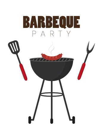 bbq party red kettle barbecue with sausages and grill cutlery vector illustration EPS10