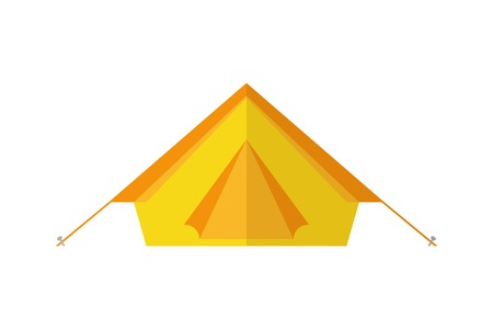 yellow camping tent isolated on white background vector illustration
