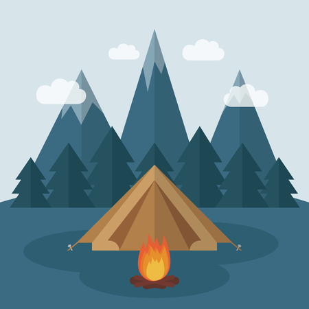 wilderness camping in a tent with snowy mountains and forest view vector illustration EPS10