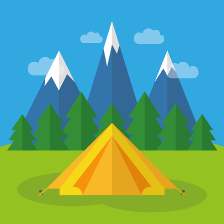 camping in a yellow tent with snowy mountains and forest view vector illustration EPS10 Illustration