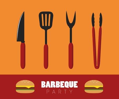 bbq party sztućce do grilla z burgerem ilustracji wektorowych EPS10