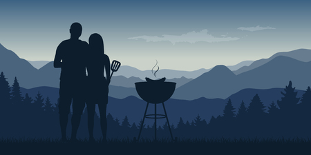 young couple makes a barbeque in the nature landscape with mountain view vector illustration