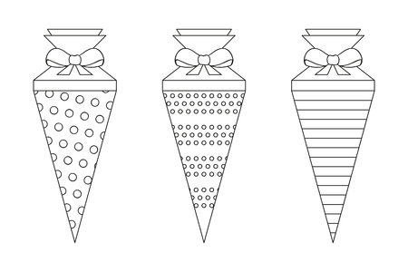 pattern school cone set for coloring vector illustration EPS10