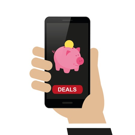hand holds smartphone with piggy bank shopping concept isolated on white background vector illustration EPS10