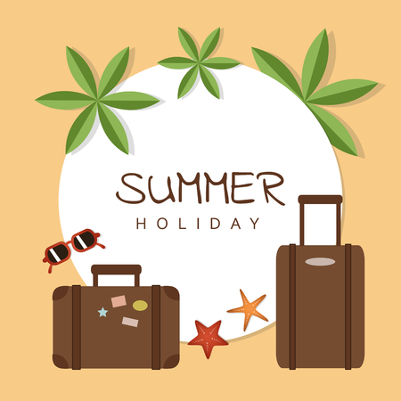 summer holiday design with suitcase palm sunglasses and starfish vector illustration EPS10