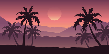 beautiful palm tree silhouette landscape in purple colors vector illustration EPS10