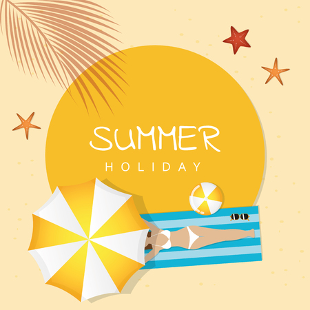 summer holiday design girl is lying on the beach under an umbrella and palm tree vector illustration