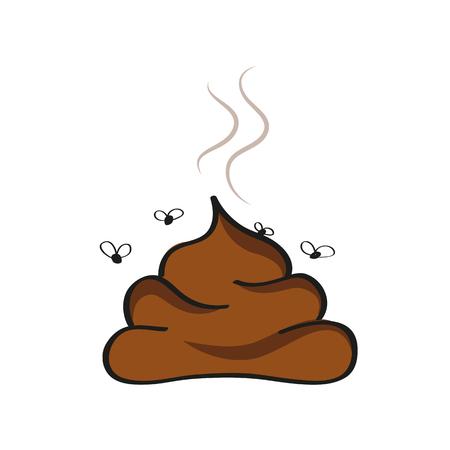 stinkende Poop-Symbol mit Fliegenvektorillustration