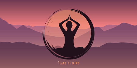 peace of mind meditation concept silhouette with mountain background vector illustration