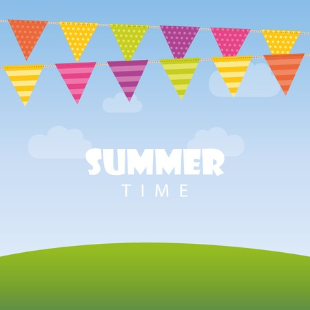 summer time background with party flags in the sky vector illustration
