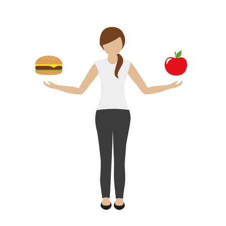 woman holds burger in one and apple in the other hand food concept vector illustration