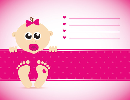 cute newborn baby girl pink card vector illustration Illusztráció