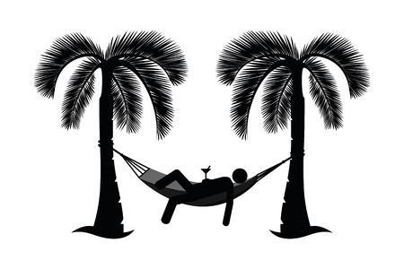 man in a hammock between palms pictogram isolated on white background vector illustration