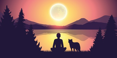 person and wolf are looking at the full moon in nature by the lake vector illustration EPS10