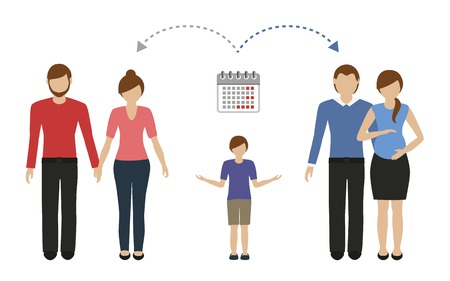 patchwork family time management concept vector illustartion EPS10