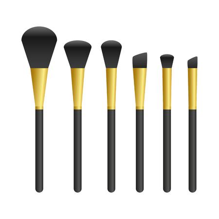 golden make up brush set isolated on white background vector illustration