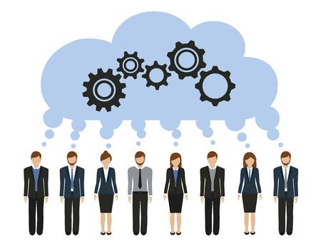 uomini e donne d'affari sviluppano un'idea comune con l'illustrazione vettoriale degli ingranaggi Vettoriali